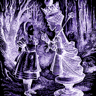Alice with the Red Queen. From Lewis Carroll's Through the Looking Glass